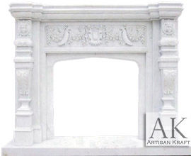 Florida White Marble Fireplace