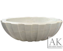 Angel White Marble Textured Bath Tub