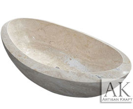 Beige Travertine Slipper Tub