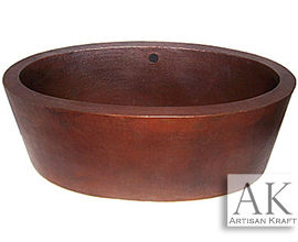 Oval Hammered Copper Tub