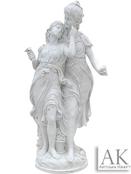 Mother and Daughter Marble Statue