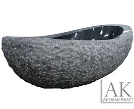 Black Marble Oval Bathtub