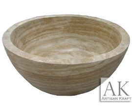 Beige Travertine Round Tub