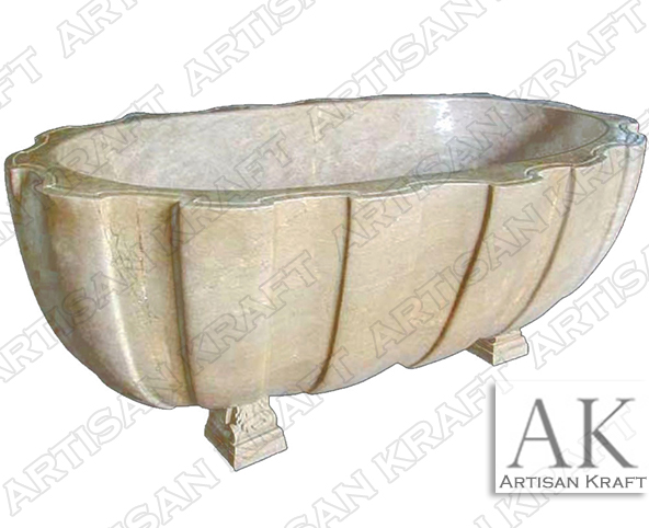 Wave Textured Clawfoot Marble Bath Tub Artisan Kraft