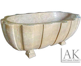 Wave Textured Clawfoot Marble Bath Tub