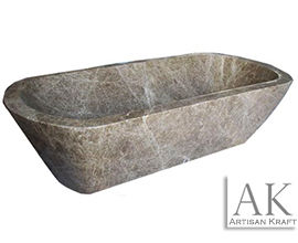 Light Emperador Double Ended Curved Bath Tub