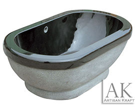 Luxury Black Marble Pedestal Oval Tub