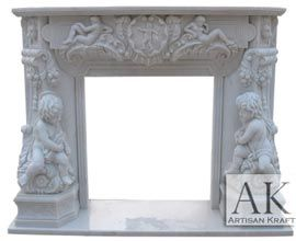 Angel Cherubim Carved Mantel Sale