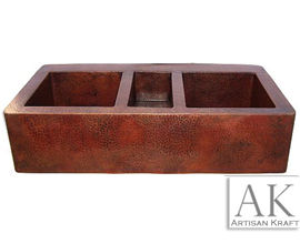 Triple Well Farmhouse Hammered Copper Sink