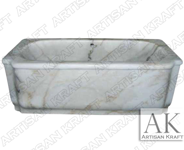 Carrera White Marble Rectangular Bath Tub