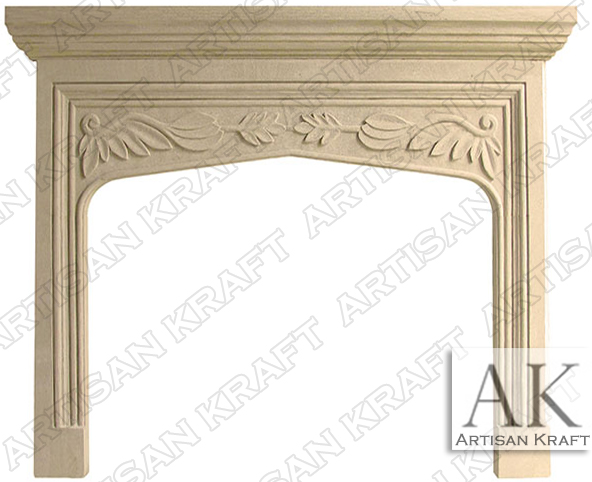 English-Traditional-Tudor-Limestone-Fireplace-Mantel
