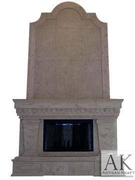 Grand Ionic Cast Stone Fireplace