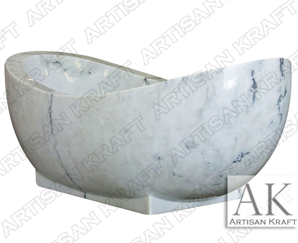 Moon White Marble Bathtub Freestanding Slipper Tub