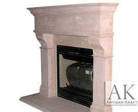 Rochester Old World Cast Stone Fireplace