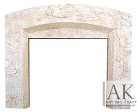 Beveled Arch Cast Stone Fireplace