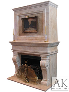 Melrose Travertine Overmantel Fireplaces