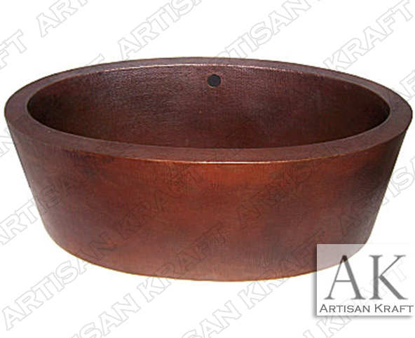 Double-Ended-Oval-Hammered-Copper-Tub bathroom bathtubs spa