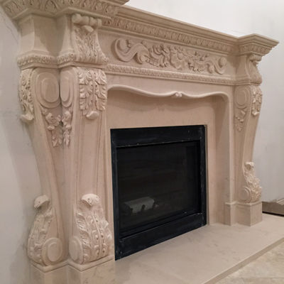 Decorative marble fireplace surround French Style corbels