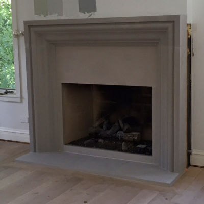 Deco modern frame style fireplace surround