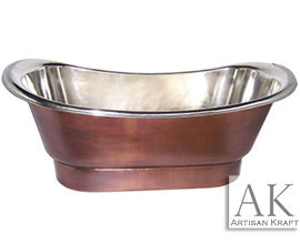 Bon Nickel Plated Smooth Copper Bath Tub