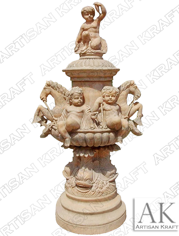 Horse Cherubim Marble Fountains