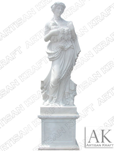 Woman Holding Grapes Marble Statue pedestal sculptures