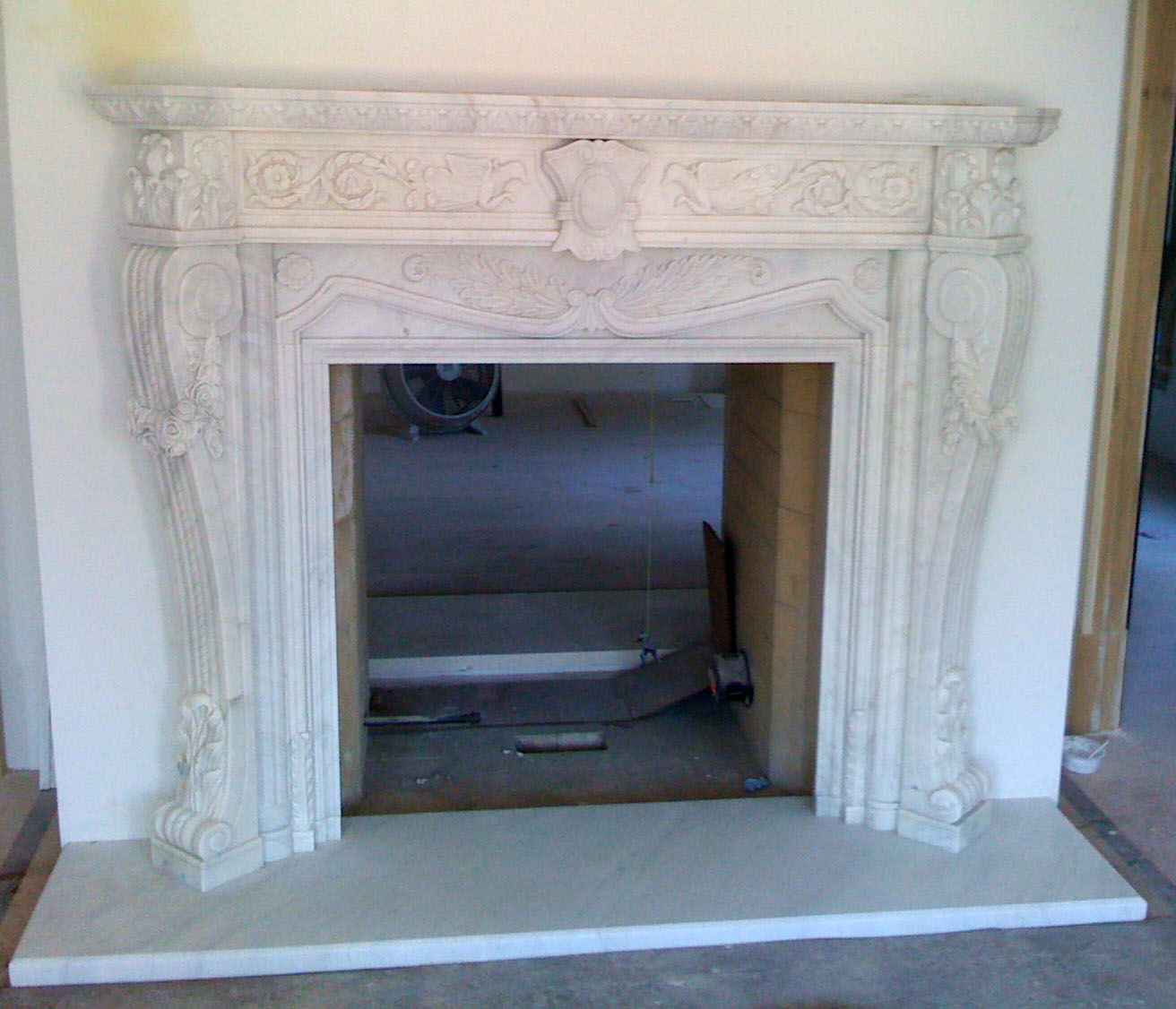 White Marble Hand Carved Decorative Fireplace Mantel