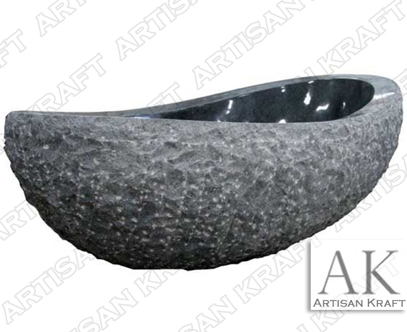Black Marble Oval Bathtub rock forest
