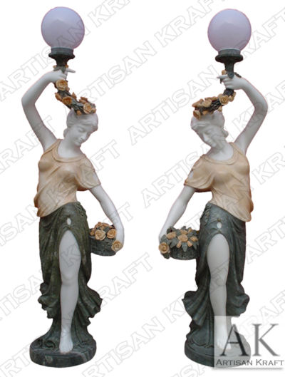 Woman-Lamp-Post-Pedestal-Statue Marble