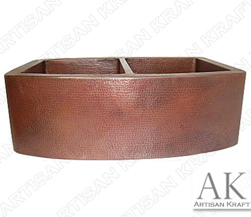 Farmhouse-Modern-Double-Bowl-Hammered-Copper-Kitchen-Sink