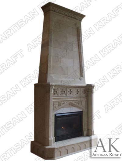 Overmantel-Gothic-Tudor-Fireplace Limestone Mantel Surround