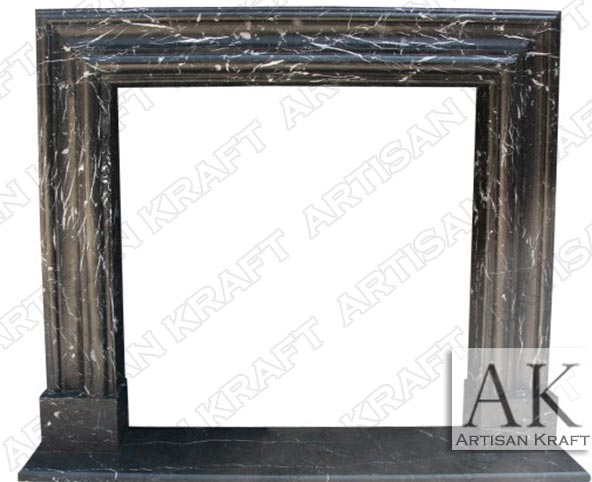 Black Marble Bolection Fireplace Surround