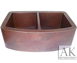 Hammered Copper Farmhouse Double Bowl Modern Sink